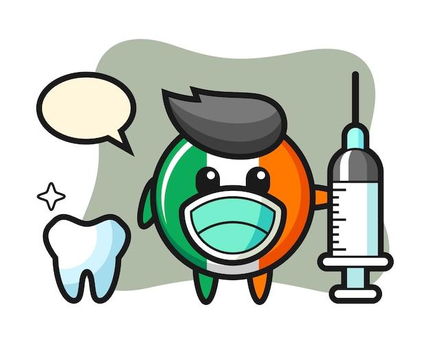 Caractère de mascotte d'insigne de drapeau d'irlande en tant que dentiste
