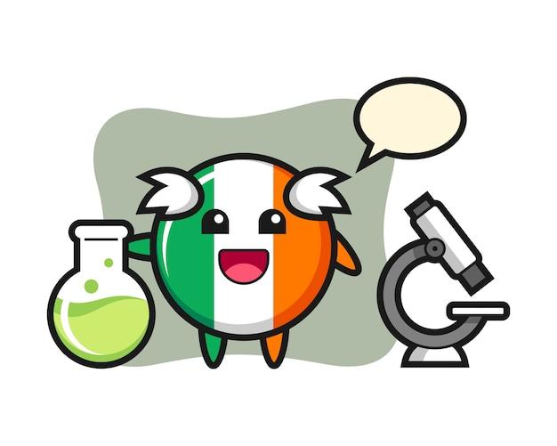 Caractère de mascotte d'insigne de drapeau d'irlande en tant que scientifique
