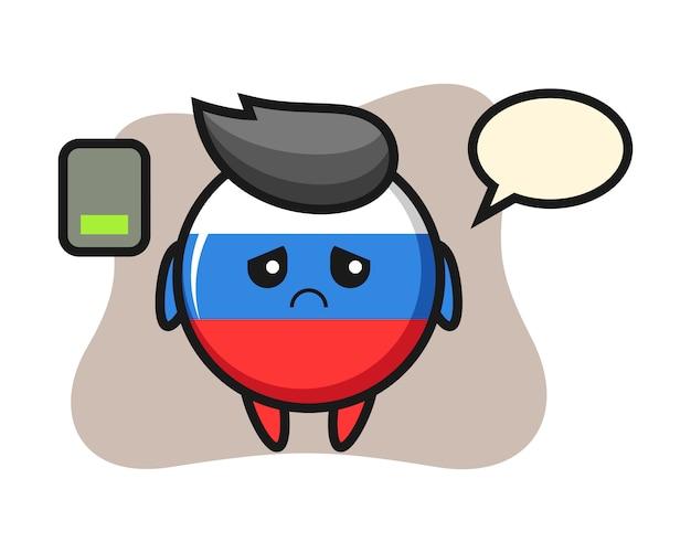 Caractère de mascotte d'insigne de drapeau de la russie faisant un geste fatigué, conception de style mignon