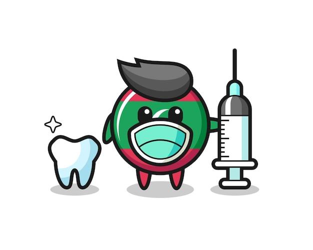 Caractère de mascotte de l'insigne du drapeau des maldives en tant que dentiste, design mignon