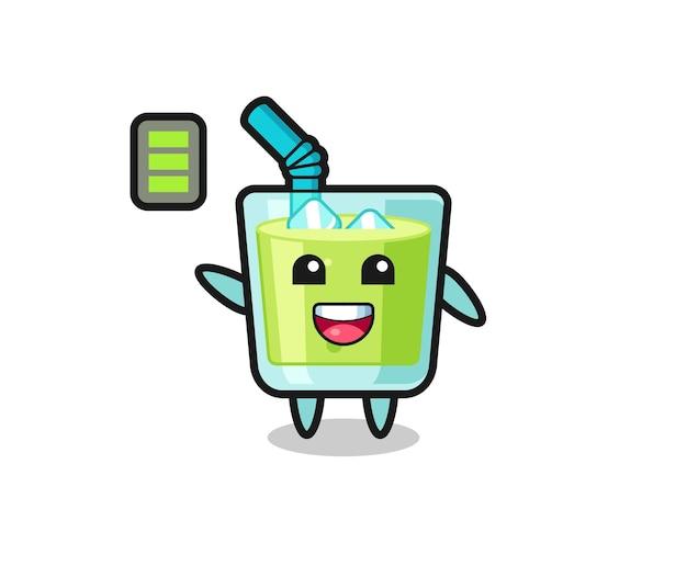 Caractère de mascotte de jus de melon avec un geste énergique, design de style mignon pour t-shirt, autocollant, élément de logo