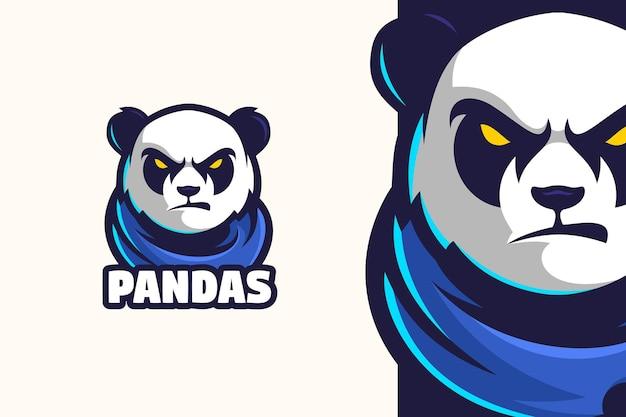 Caractère de mascotte de logo de panda sauvage