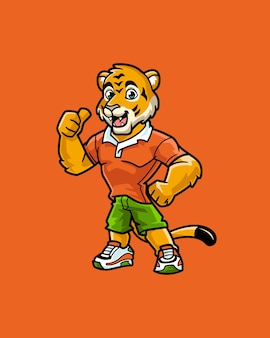 Caractère de mascotte de sport de tigre amical d'enfant