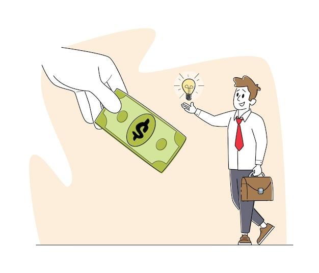 Caractère masculin changeant l'ampoule rougeoyante sur le projet de loi d'argent dans une énorme main humaine