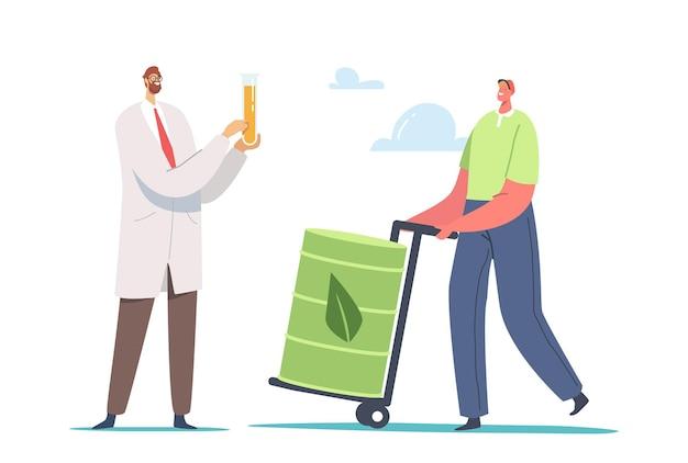 Caractère masculin de chimiste scientifique tenant un flacon en verre avec de l'essence liquide eco et un travailleur de la station de ravitaillement avec un baril vert ou un bidon avec signe de feuille et biocarburant à l'intérieur