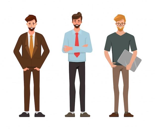 Caractère masculin dans les employés de bureau homme d'affaires pose