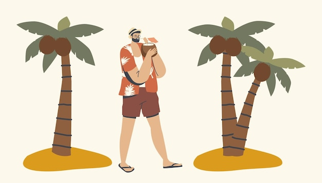 Caractère masculin détendu dans des vêtements d'été appréciant de boire du jus de noix de coco marchant le long de la plage tropicale avec des palmiers autour