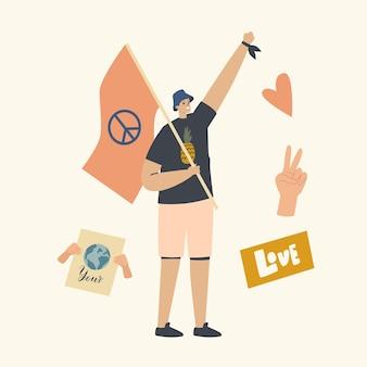Caractère masculin pacifiste avec drapeau et symbole de paix protestant lors d'une manifestation