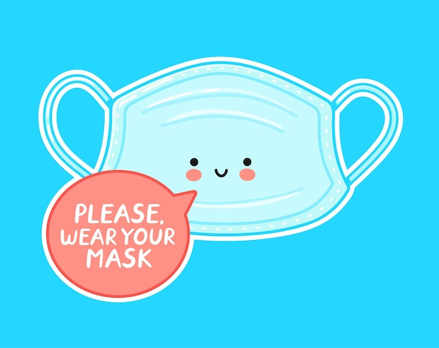 Caractère de masque médical heureux mignon
