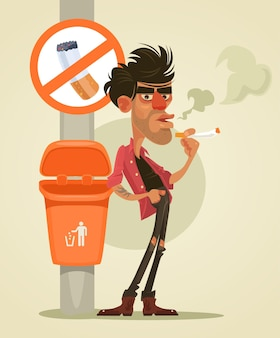 Caractère de mauvais homme fumant sous le signe aucune illustration de dessin animé plat de fumée