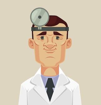 Caractère de médecin ophtalmologiste, illustration de dessin animé plat