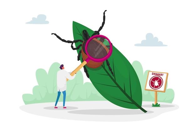 Caractère de médecin avec support de loupe à énorme feuille avec tique et panneau d'avertissement avec image d'acarien. danger de morsure par tique dans la forêt et sur le territoire naturel extérieur. dessin animé