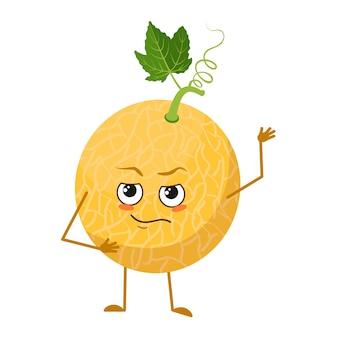 Caractère de melon mignon avec émotions, visage, bras