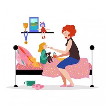Caractère de la mère personne soin fille malade, femme tenir médicament médicament cuillère sur blanc, illustration. les enfants reposent le lit de la chambre.