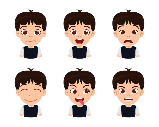 Caractère mignon beau garçon enfant montrant des émotions et différentes expressions faciales avec un t-shirt noir isolé