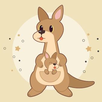 Caractère, mignon, bébé, kangourou, séance, poche, kangourou, mather, jaune