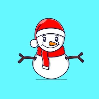 Caractère mignon de bonhomme de neige avec le chapeau de noël