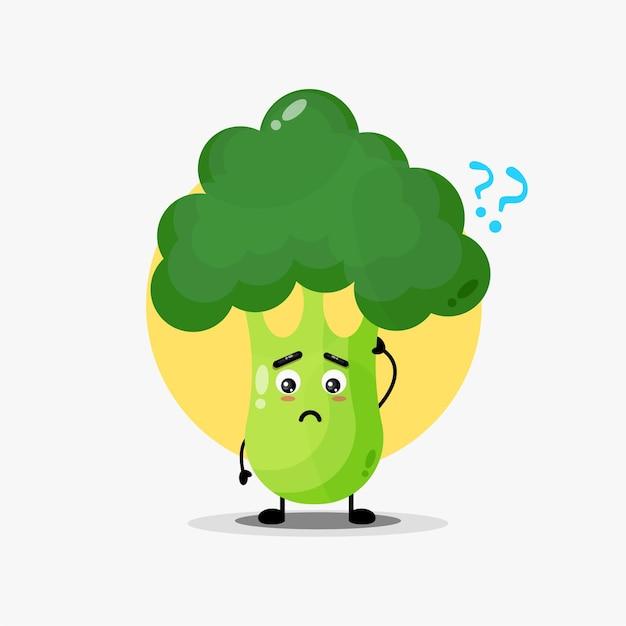 Caractère mignon de brocoli confus