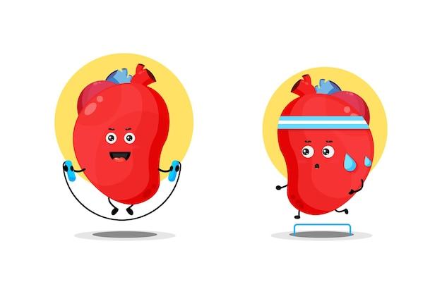 Caractère mignon de coeur d'organe exerçant