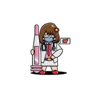 Caractère mignon de docteur avec un thermomètre
