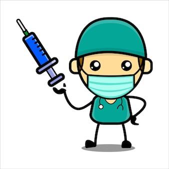 Caractère mignon de docteur avec le vecteur de prime de tir de vaccin