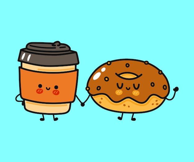 Caractère mignon drôle de tasse de papier de beignet et de café