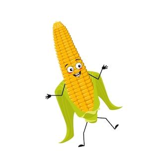 Caractère mignon d'épi de maïs gai avec des émotions dansant sourire visage bras et jambes la récolte drôle et ...