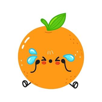 Caractère mignon de fruit orange triste et pleurant