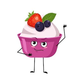 Caractère mignon de gâteau ou de yaourt avec des bras de visage d'émotions