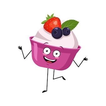 Caractère mignon de gâteau ou de yaourt