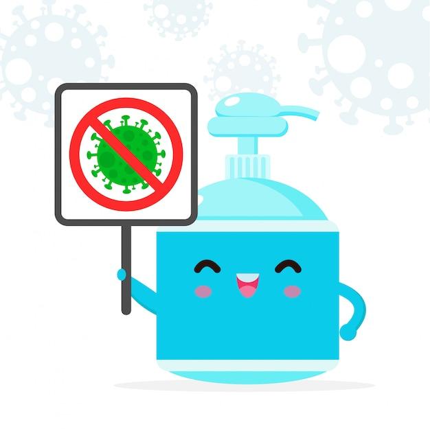 Caractère mignon de gel d'alcool. gel de lavage des mains et signe stop coronavirus (2019-ncov), attaque au gel d'alcool covid-19, protection contre les virus et les bactéries, mode de vie sain isolé sur fond blanc