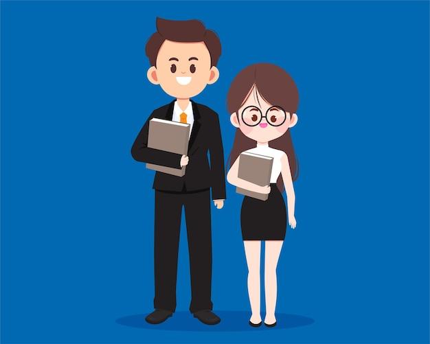 Caractère mignon de gens d'affaires tenant l'illustration d'art de dessin animé de dossier de document