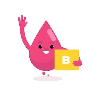 Caractère mignon de groupe sanguin. illustration vectorielle plane.