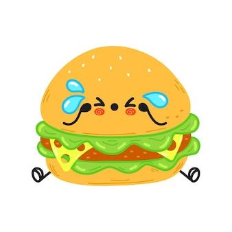 Caractère mignon de hamburger triste et pleurant