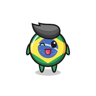 Caractère mignon d'insigne de drapeau du brésil dans une expression douce tout en tirant la langue, design de style mignon pour t-shirt, autocollant, élément de logo