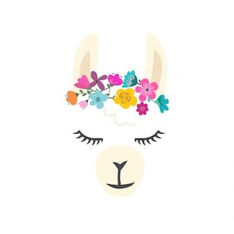 Caractère mignon de lama avec des fleurs