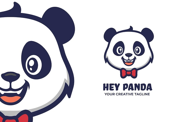 Caractère mignon de logo de mascotte de panda
