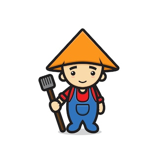 Caractère mignon de mascotte de garçon d'agriculteur tenant la fourche au sol. conception isolée