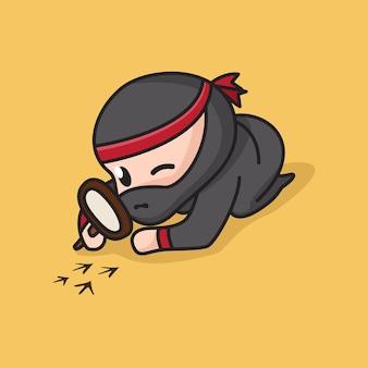 Caractère mignon de ninja de chibi utilisant la loupe