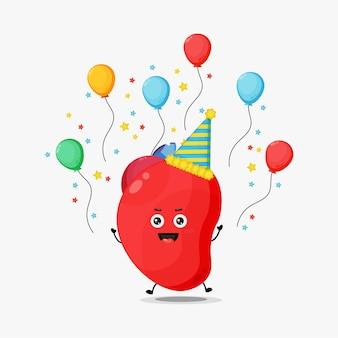 Caractère mignon d'organe de coeur célébrant l'anniversaire