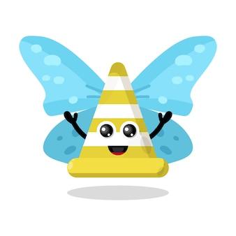 Caractère mignon de papillon de trafic de cône
