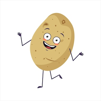 Caractère mignon de pomme de terre gai avec des émotions dansant des bras de visage souriant