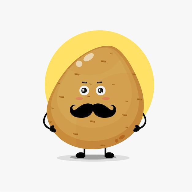Caractère mignon de pomme de terre avec la moustache