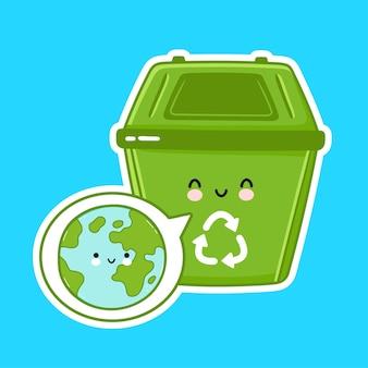 Caractère mignon de poubelle de recyclage isolé sur bleu