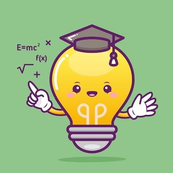 Caractère mignon de professeur d'ampoule avec des formules