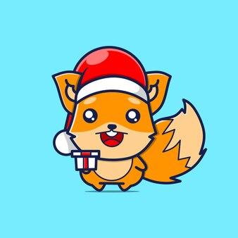 Caractère mignon de renard avec le chapeau de noël