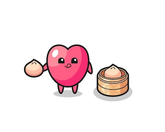 Caractère mignon de symbole de coeur mangeant des petits pains cuits à la vapeur, conception mignonne de style pour le t-shirt, autocollant, élément de logo