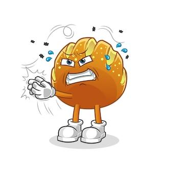Le caractère de mouche de pain swat. mascotte de dessin animé