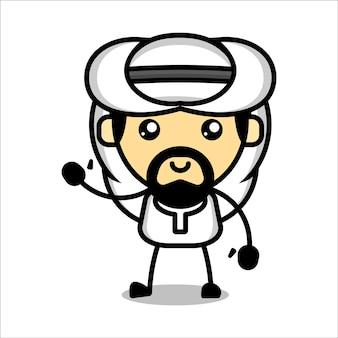 Caractère musulman mignon vecteur premium