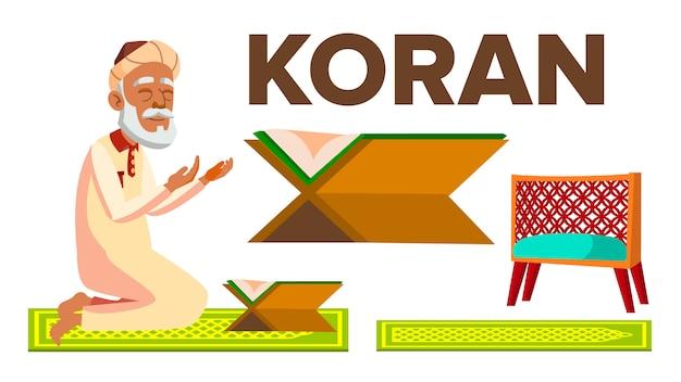 Caractère musulman vieil homme lisant le coran
